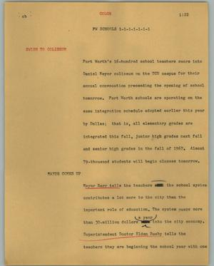 Primary view of object titled '[News Script: FW schools]'.