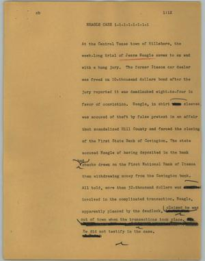 Primary view of object titled '[News Script: Neagle case]'.