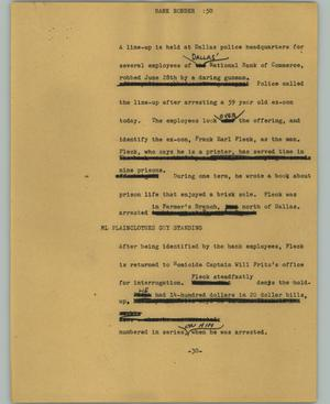 Primary view of object titled '[News Script: Bank robber]'.