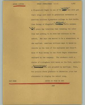 Primary view of object titled '[News Script: Negro stewardess]'.
