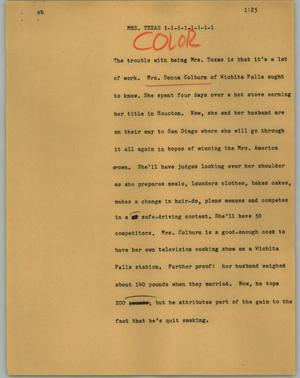 Primary view of object titled '[News Script: Mrs. Texas]'.