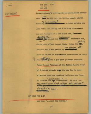 Primary view of object titled '[News Script: DWI law]'.