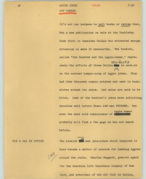 Primary view of object titled '[News Script: Aggie jokes]'.