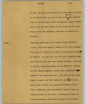 Primary view of object titled '[News Script: Knifing]'.