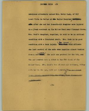 Primary view of object titled '[News Script: Injured child]'.