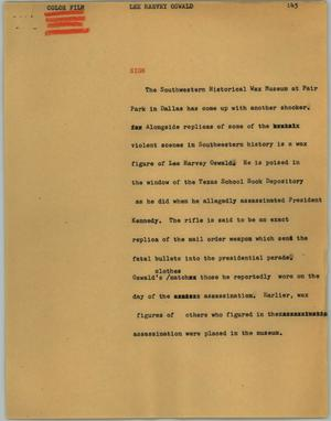 Primary view of object titled '[News Script: Lee Harvey Oswald]'.