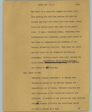 Primary view of object titled '[News Script: Cable cut]'.