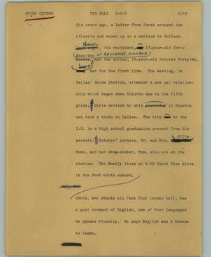 Primary view of object titled '[News Script: Pen pals]'.