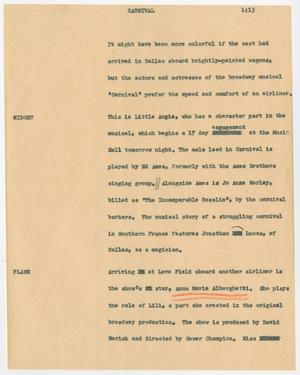 Primary view of object titled '[News Script: Carnival]'.