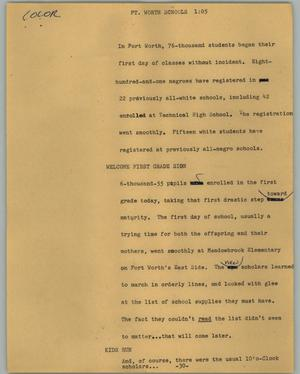 Primary view of object titled '[News Script: Ft. Worth Schools]'.