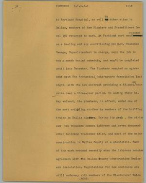 Primary view of object titled '[News Script: Plumbers]'.