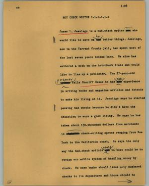 Primary view of object titled '[News Script: Hot check writer]'.