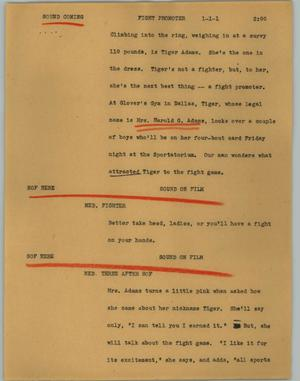 Primary view of object titled '[News Script: Fight promoter]'.