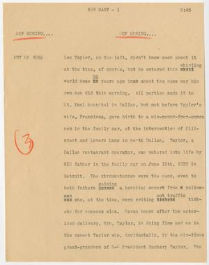 Primary view of object titled '[News Script: New baby]'.