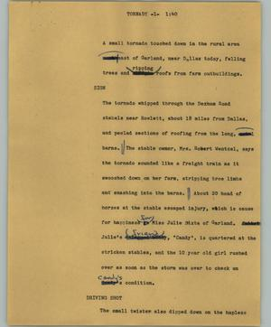 Primary view of object titled '[News Script: Tornady]'.