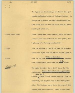 Primary view of object titled '[News Script: SMU A&M]'.