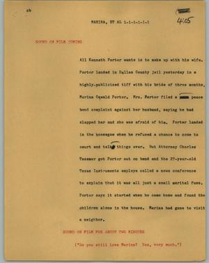 Primary view of object titled '[News Script: Marina, et al]'.