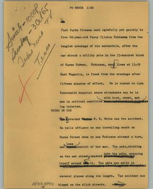 Primary view of object titled '[News Script: FW Wreck]'.