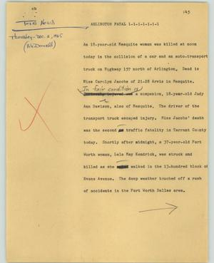 Primary view of object titled '[News Script: Arlington fatal]'.