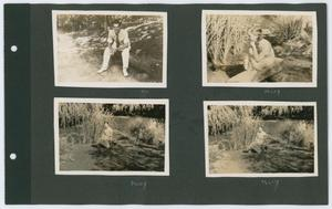 A photo album page, four pictures in each corner. The top left one is of a man in a white suit sitting down.