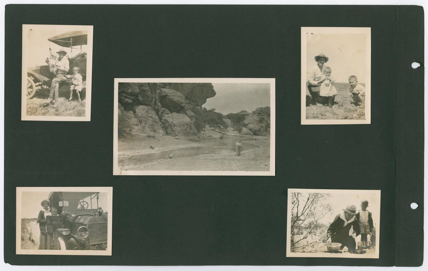[Page 6 of Byrd Williams Jr. album, 1907-1920], Scrapbook page featuring 5 photos of Byrd Williams Jr. and Irene Biffle Williams, with sons Byrd III and John, cooking outdoors, sitting on their Ford, and walking along a stream.,