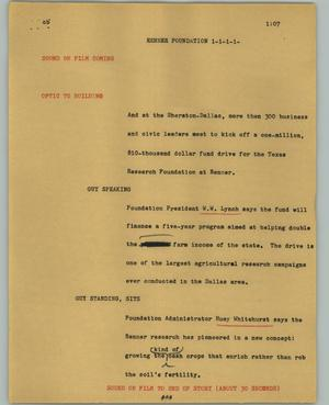 Primary view of object titled '[News Script: Renner Foundation]'.