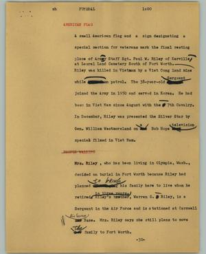 Primary view of object titled '[News Script: Funeral]'.