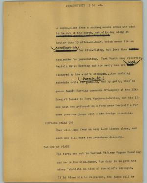 Primary view of object titled '[News Script: Parachutists]'.