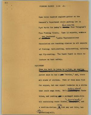Primary view of object titled '[News Script: Fishing clinic]'.