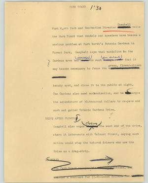 Primary view of object titled '[News Script: Park board]'.