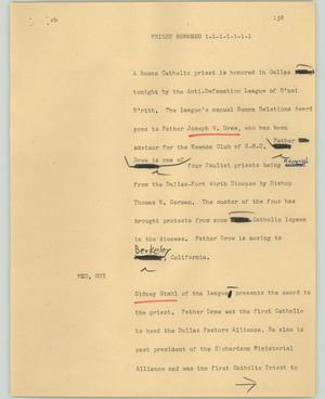 Primary view of object titled '[News Script: Priest honored]'.