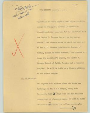 Primary view of object titled '[News Script: UTA Residents]'.