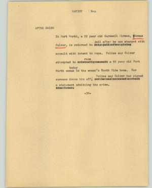 Primary view of object titled '[News Script: Rapist]'.