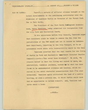 Primary view of object titled '[News Script: Tennison Zoo]'.
