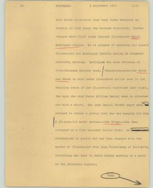 Primary view of object titled '[News Script: Murderers]'.