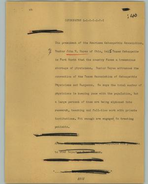 Primary view of object titled '[News Script: Osteopaths]'.