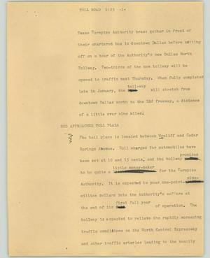 Primary view of object titled '[News Script: Toll road]'.