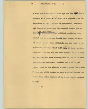 Primary view of object titled '[News Script: Explosion, Fire]'.