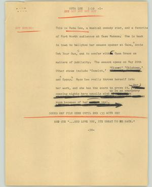 Primary view of object titled '[News Script: Ruta Lee]'.