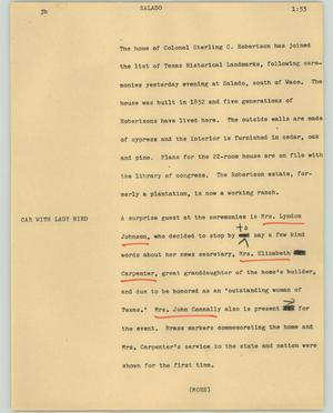 Primary view of object titled '[News Script: Salado]'.