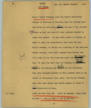 Primary view of object titled '[News Script: Cancer]'.