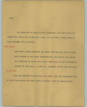 Primary view of object titled '[News Script: Rusk]'.