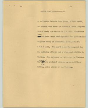 Primary view of object titled '[News Script: Bronze star]'.