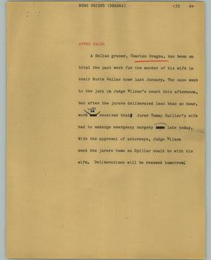 Primary view of object titled '[News Script: News briefs (Dragna)]'.