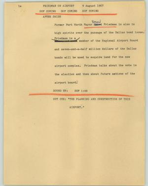 Primary view of object titled '[News Script: Friedman on airport]'.