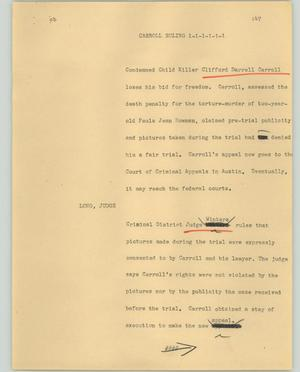 Primary view of object titled '[News Script: Carroll ruling]'.