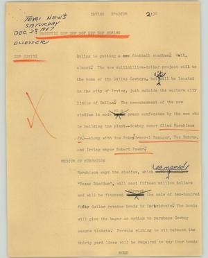 Primary view of object titled '[News Script: Irving stadium]'.