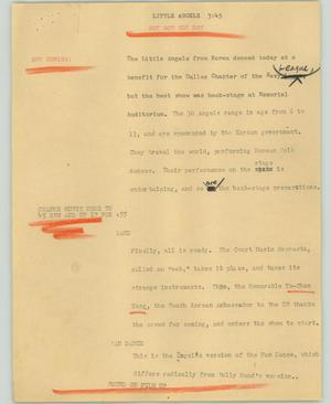 Primary view of object titled '[News Script: Little angels]'.