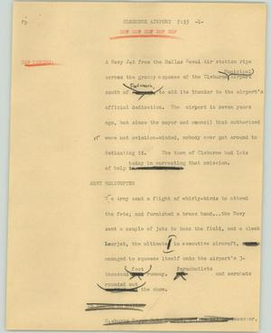 Primary view of object titled '[News Script: Cleburne airport]'.