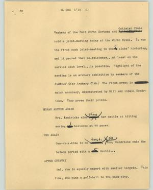 Primary view of object titled '[News Script: Clubs]'.